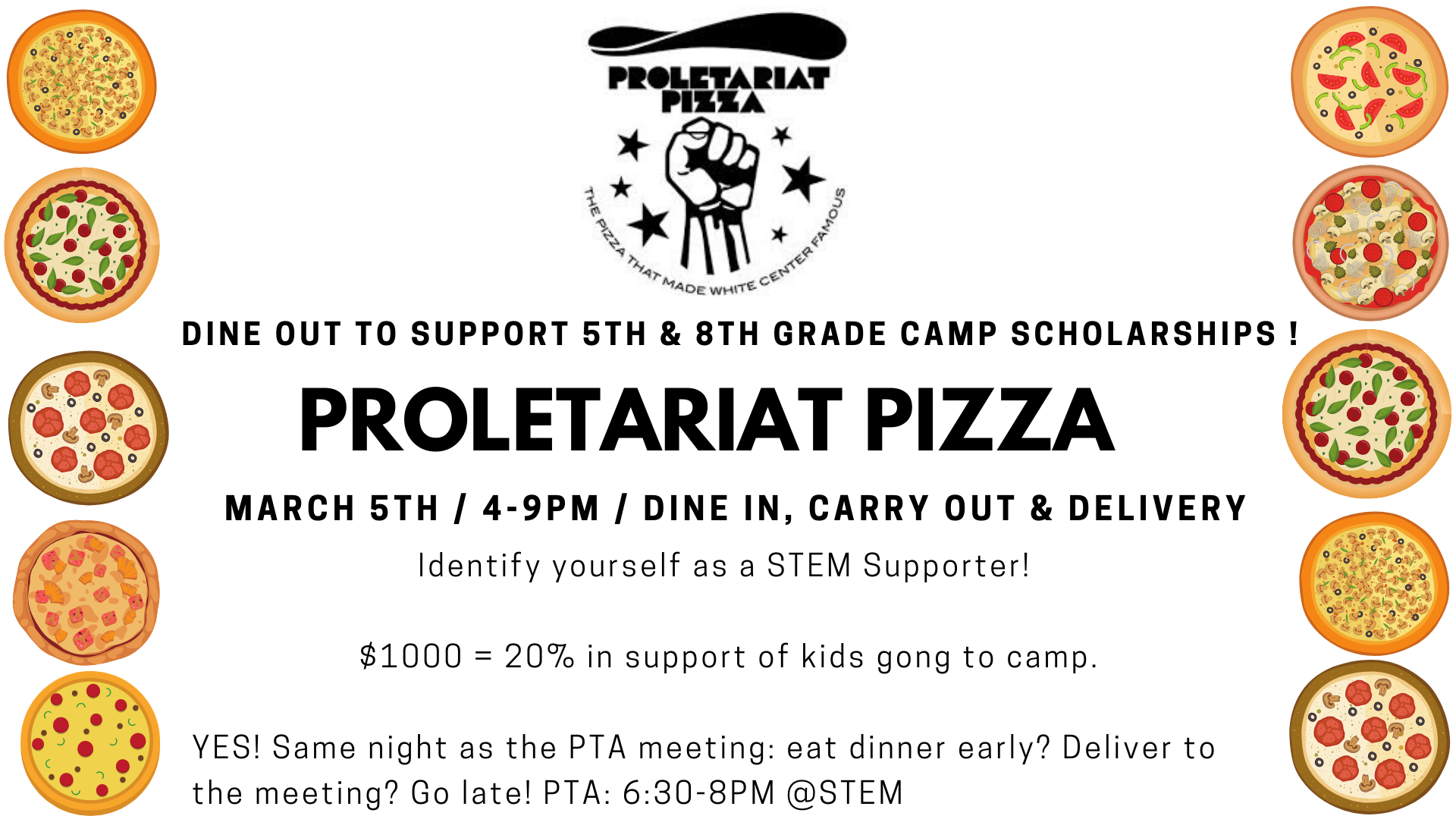 Proletariat Pizza Dine out fundraiser @ Proletariat Pizza